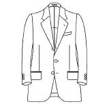 ジャケット 前ボタン数(シングル) 3つ(段返り)
