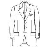 ジャケット 前ボタン数(シングル) 3つ(段返りなし)